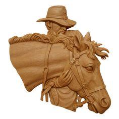 Wood carved cowboy