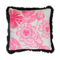 100% linen floor cushion hand screen printed with summer floral design in pink finished with black fringe trim (FC83).  Dimensions: 60cm x 60cm (feather insert included)  Care Instructions: Remove insert and hand wash or gentle machine wash separately with gentle laundry liquid, line dry and iron on reverse whilst slightly damp. Please do not bleach, tumble dry or dry clean.  *No exchanges on sale items*