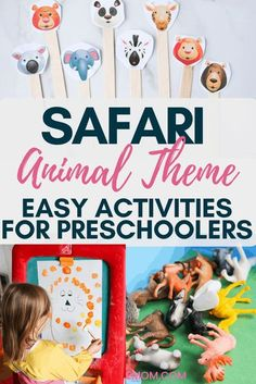 Safari animal preschool theme. Easy ideas that you can put together at home to explore the safari and even jungle animals. An easy preschool theme that your children will love #indooractivities #jungletheme #jungleideas #safariideas #toddleractivities #preschoolactivities #safaricrafts #safarithemes #jungleparty #safarifood #safariactivities