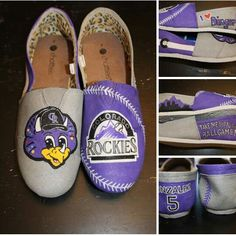 fab86badf237 Colorado Rockies - Dinger - custom hand painted shoes - visit my business  page on FB to order yours in ANY theme! www.facebook.com loveleyni