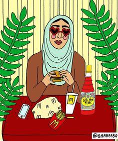 unfortunately your local mc donald doesn't provide ALL drinks of your choice   // illustration, hijabi, Muslim artist, artwork, mc donald, heart shaped sunglasses, pakistani, desi, inspiration, men tears, rooh afza //