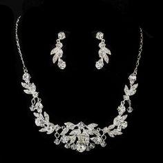 Austrian & Rhinestone Necklace & Earrings Bridal Jewelry Set 8214