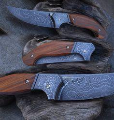 linerlock. Damascus blade, handle Damascus and Lignum-vitae (guajacan). titanium