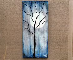 Tree and Winter Moon Painting on Reclaimed Wood The Nights Of The Season By Rafi Perez
