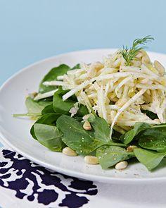 Celeriac and Apple Salad. Celeriac and apple salad with watercress and Meyer lemon-shallot vinaigrette Watercress Recipes, Watercress Salad, Vegetable Dishes, Vegetable Recipes, Apple Celery Salad, Farmers Market Recipes, Celeriac, Winter Salad, Vegetarian Paleo