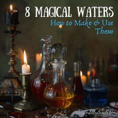 Water carries many magical properties. Learn how to make magical waters and how to use them, including: moon water, sun water, rose water and more!