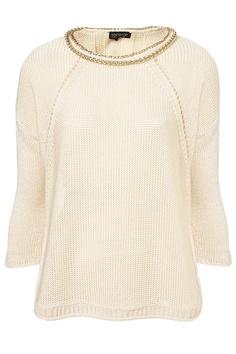 Knitted chain neckline jumper