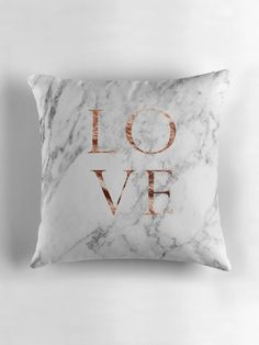 "Black Gold Bedroom ""Rose gold marble LOVE"" Throw Pillows by peggieprints Rose Gold Room Decor, Rose Gold Rooms, Gold Bedroom Decor, Room Ideas Bedroom, Rose Gold And Grey Bedroom, Rose Gold Bedroom Accessories, Rose Gold Interior, Bedroom Wall, Marble Room"