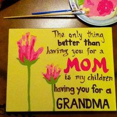 Flower handprints for Grandma on Mother's Day