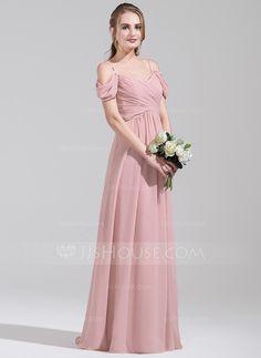 A-Line/Princess Off-the-Shoulder Floor-Length Chiffon Bridesmaid Dress With Ruffle (007072789)