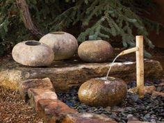 wasserbrunnen quellstein granit säule naturstein brunnen, Garten und erstellen