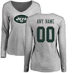 6bc3cbf1e72 Women New York Jets NFL Pro Line Ash Custom Name and Number Logo Slim Fit  Long Sleeve T-Shirtcheap nfl jerseys
