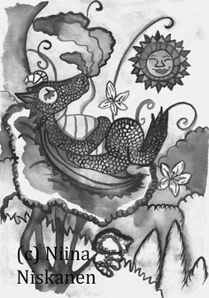 Dragon's visit  Fairy tale and Fantasy Art Print  by fairychamber