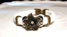 Swarovski Flower White Leather and Brass Regaliz by #endlessbounty, $32.00 #jewelryonetsy #jetteam