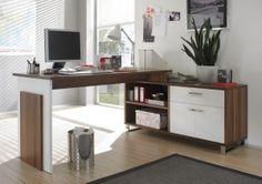 Písací stôl s komodou Manager, dub sonoma/biela Office Desk, Corner Desk, Sweet Home, Inspiration, Furniture, Design, Home Decor, Manager, Room Ideas