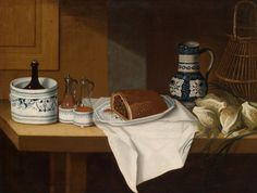 A still life with Eastern French faience dishes, a wine ewer, vegetables, and a tart by Claude Joseph Fraichot