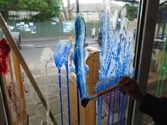 Painting on glass at Chadwell Pre-school