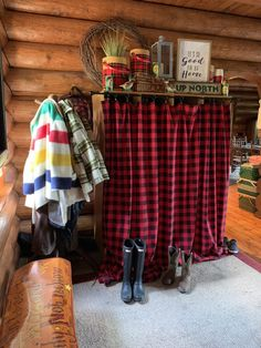 Cabin Curtains, Plaid Curtains, Plaid Chair, Vintage Cabin, Red Lantern, Log Cabin Homes, Girl Room, Room Girls, Cabins In The Woods
