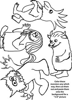Coloring Pages for Book, Where the Wild Things Are by Maurice Sendak (from Storytime Crafts) Wild Ones, Wild Things, Coloring Sheets, Coloring Pages, Kids Coloring, Fairy Dust Teaching, Art For Kids, Crafts For Kids, Author Studies