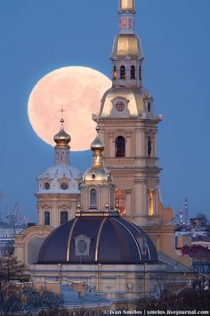 Full moon over Peter and Paul Cathedral, St. Petersburg Russia by Ivan Smelov