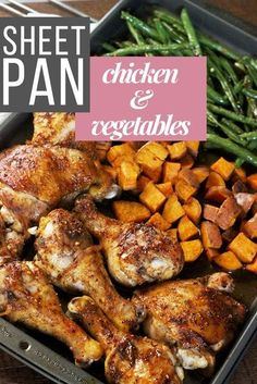 Brown Sugar Bourbon BBQ Sheet Pan Chicken & Sweet Potatoes A sheet pan meal with chicken full of flavor, sweet potatoes that are perfectly soft with a slight crisp to them, and green beans cooked to perfection. #sheetpandinner #sheetpanmeals #chickensheetpan #chickenrecipe #chicken #sweetpotatoes