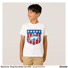 American  Soap box derby car with stars and stripe T-Shirt. Kids t-shirt with an illustration of an American soap box derby car with stars and stripes in the background set inside a shield. #soapboxderby #starsandstripes #tshirt