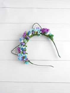 Ultra violet Blue Women cat ears headband Kitty ears headband #CatEars