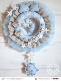 Baby Wreath Handmade from Linen Hospital Door Hanger Boy Hospital Door Decorations, Hospital Door Hangers, Baby Boy Nursery Decor, Baby Boy Nurseries, Baby Kranz, Baby Boy Wreath, Baby Boy Announcement, Baby Mobile, Personalized Baby