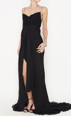 J. Mendel Black Chiffon Dress