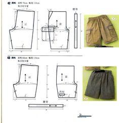.short: Sewing Pants, Sewing Clothes, Diy Clothes, Diy Pantalon, Pantalon Cargo, Kids Patterns, Sewing Patterns Free, Clothing Patterns, Men's Clothing