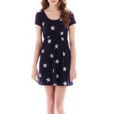 Arizona Short-Sleeve Print Skater Dress  found at @JCPenney