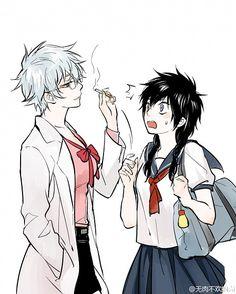Tags: Anime, Feiqiuxuan, Gin Tama, Sakata Gintoki, Hijikata Toushirou, Ginko (Gin Tama), Cigarette