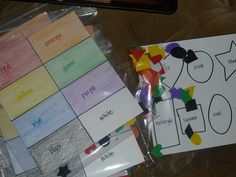 Color and shape sorting board.  Use poster size paper and make colors and shapes to match out of foam pieces.