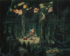"Concept art by Gustaf Tenggren for Disney's ""Pinocchio""."