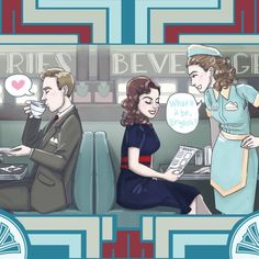 Cozy at the L&L || Edwin Jarvis, Peggy Carter, Angie Martinelli || by Enerjax || Agent Carter T-Shirt Contest || #fanart