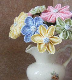 Stemmed Kanzashi Fabric Flowers PDF Tutorial .... Make a Spring Bouquet. $7.50, via Etsy.