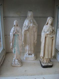 THE BEST Collection of 3 Vintage FRENCH RELIGIOUS STATUES Saints Cross Rosary