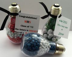 Light bulb graduation party favor bright future kindergarten senior class of 2014 edible school colors grad New Years gift idea