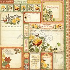Graphic 45 - Time to Flourish Collection - 12 x 12 Double Sided Paper - November Cut Apart Graphic 45, Graphic Design, Scrapbook Supplies, Scrapbook Paper, Scrapbook Kit, Vintage Scrapbook, Scrapbooking Layouts, Shabby, Paper Cards
