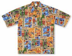 Go Barefoot Hawaiian Shirts From Aloha Shirt Shop | Go Barefoot Honu Tapa | GB-21