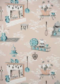 Vintage wallpaper kitchen on pinterest retro kitchens for Blue kitchen wallpaper