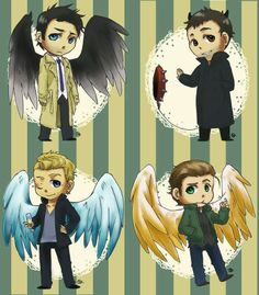 Cas, Crowley, Michael and Lucifer