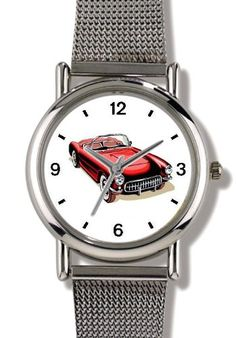 Vintage Red Sports Car No1  WATCHBUDDY ELITE ChromePlated Metal Alloy Watch with Metal Mesh StrapSizeSmall  Childrens Size  Boys Size  Girls Size  >>> You can find out more details at the link of the image. (This is an affiliate link) #GirlsOutdoorClothing