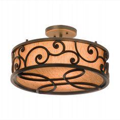 Windsor 3-Light Antique Copper 17-inch Semi-Flush Drum Mount