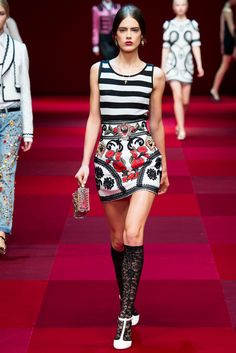 9 Elisabetta Franchi Fall 2015 White Blouse and Dolce & Gabbana Embroidered Skirt