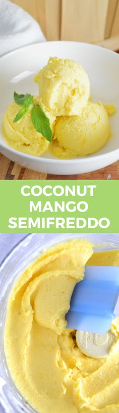 Coconut Mango Semifreddo -- 2 ingredients and 5 minutes to a delicious, refreshing dessert! 16 ounces of frozen mango pieces 1 can of full-fat coconut milk, chilled in the refrigerator overnight (try pineapple or other fruit too) Desserts Rafraîchissants, Desserts Sains, Frozen Desserts, Frozen Treats, Healthy Desserts, Dessert Recipes, Gelato, Refreshing Desserts, Vegan Ice Cream