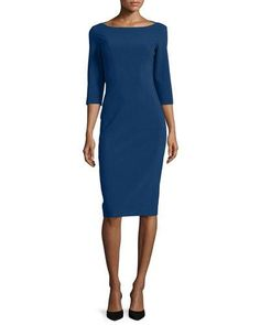 B3EE0 Michael Kors 3/4-Sleeve Boat-Neck Sheath Dress, Sapphire