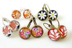 Glass Dome earrings, available in Silver or antiqued brass settings    www.funkglam.co.nz    https://www.facebook.com/FunkyGlam.Jewellery