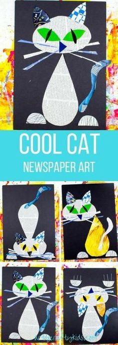 Arty Crafty Kids Art Cool Cat Newspaper Art for Kids A fun recycled cat art project using recycled newspaper and magazines Kindergarten Art, Preschool Art, Cat Crafts, Arts And Crafts, Journal D'art, Classe D'art, Arte Elemental, Recycling For Kids, Gatos Cool