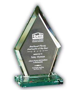 Beveled Diamond Jade Glass Award